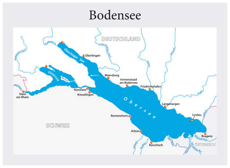 Small overview vector map of Lake Constance in German language