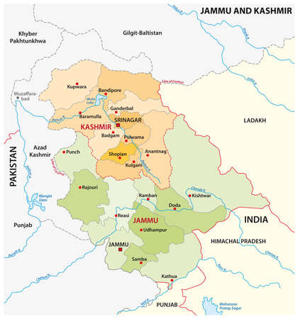 Vector administrative map of the Indian region of Jammu and Kashmir Vector Illustration