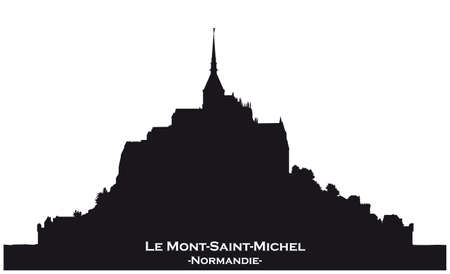 Black skyline silhouette from Mont Saint Michel, France on white background