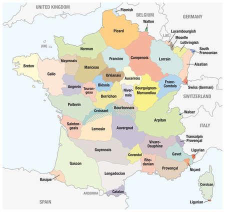 Vector outline map of main french regional languages