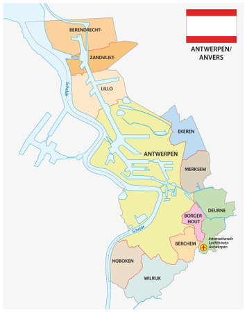 Administrative vector map of the Belgian city Antwerp with flag