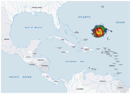 Schematic vector map of a fictional hurricane in North and Central America Ilustración de vector