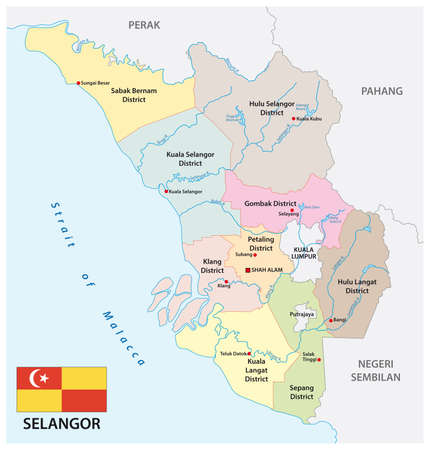 administrative vector map of the malay state of selangor with flag