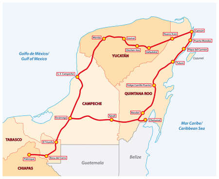 planned route of the Mayan Train in Mexico