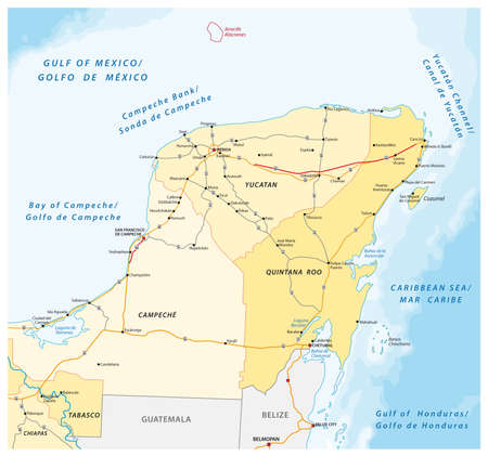 road and administrative vector map of the Yucatan Peninsula 向量圖像