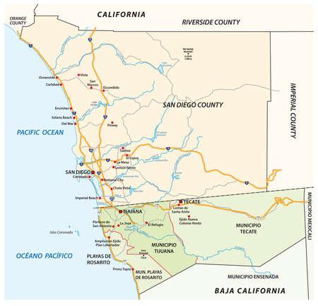 Road vector map of the cross-border agglomeration San Diego-Tijuana, Mexico, United States Ilustración de vector
