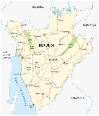 vector road map of Burundi with the new capital Gitega