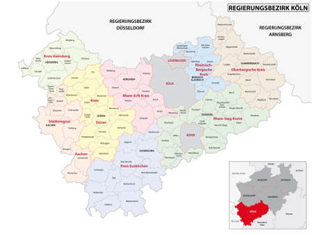 administrative vector map of the Cologne region in German, North Rhine-Westphalia, Germany