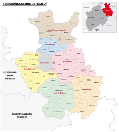 administrative vector map of the Detmold region in German language, North Rhine-Westphalia, Germany Vectores