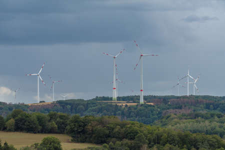 rural landscape in the Hunsruck with wind generators, Rhineland Palatinate, Germany
