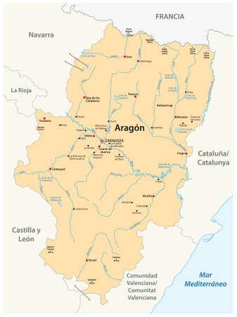 vector map of the spanish autonomous region of Aragon