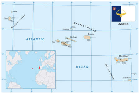 vector map of the portuguese archipelago Azores in the Atlantic ocean with flag, Portugal Vectores
