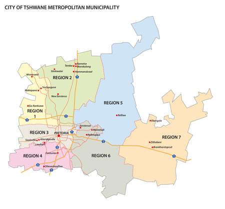 administrative vector map of City of Tshwane Metropolitan Municipality, Gauteng, South Africa Vetores