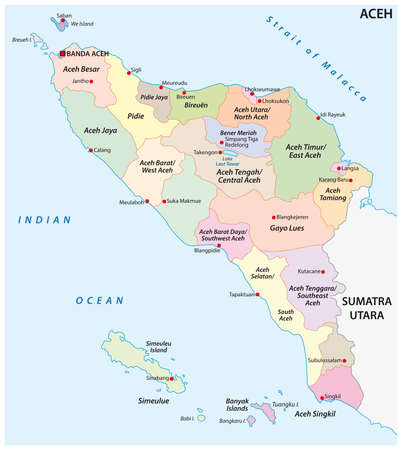 Administrative vector map of the Indonesian province of Aceh, Sumatra, Indonesia