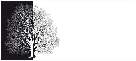 vector silhouette of a tree in black and white