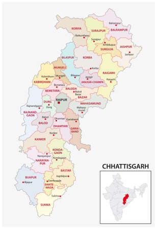 administrative and political map of indian state of Chhattisgarh, india