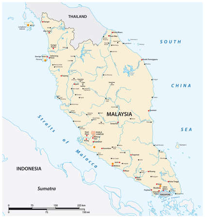 Vector map of the Malay Peninsula with main cities, Malaysia