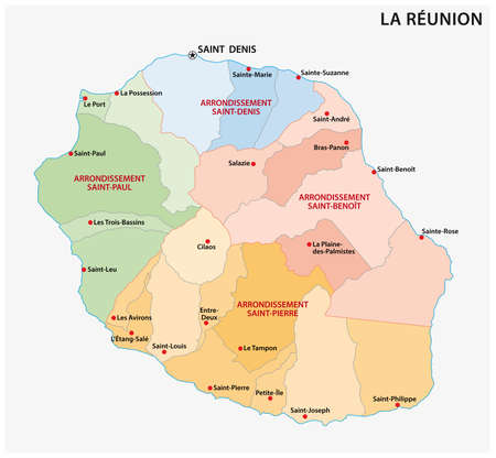 Vector map of the parishes of the Reunion department, France Vectores