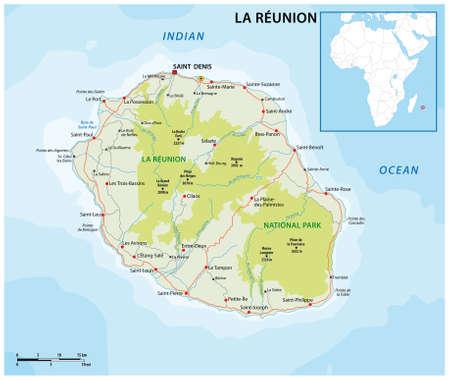 la reunion vector road and national park map 矢量图像