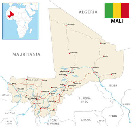 vector road map of the Republic of Mali with flag