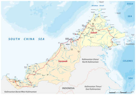 vector road map of the Malaysian states of Sarawak and Sabah on the island of Borneo, Malaysia