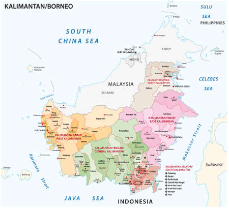 administrative vector map of the indonesian part of borneo island, kalimantan, indonesia Vectores