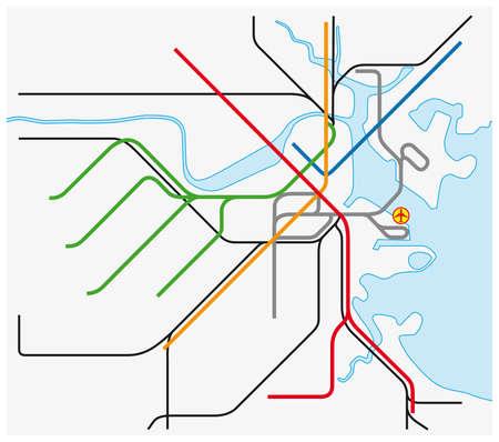 subway vector map of Boston, Massachusetts, United States