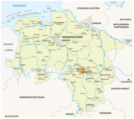 vector map of the state of Lower Saxony in German language, Germany