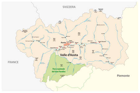 vector map of the autonomous Italian region of Aosta Valley, Italy