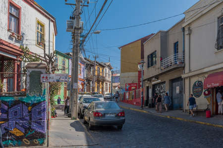 A view of a street in the old town of Valparaiso, Chile
