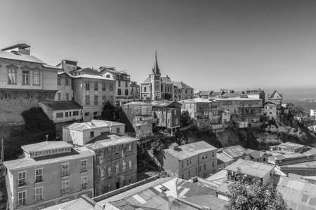 View of the old town of Valparaiso with Lutheran Church, Valparaiso, Chile