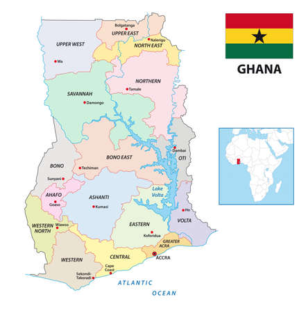 new administrative vector map of Ghana with flag, 2019