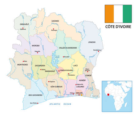 New administrative vector map of the African Republic Ivory Coast with flag Vectores