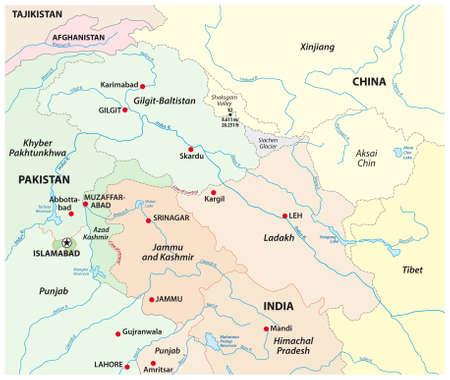 vector map of the territorial tenure of Kashmir