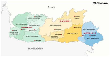 Meghalaya administrative and political vector map, India Vectores