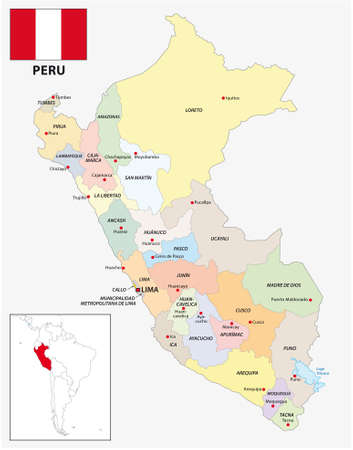 Administrative divisions vector map of Peru with flag