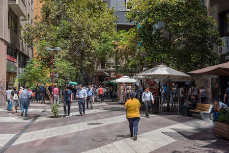 unknown people on a pedestrian street in santiago, chile