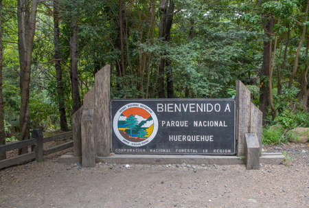 Sign at the entrance of Huerquehue National Park, Pucon, Chile
