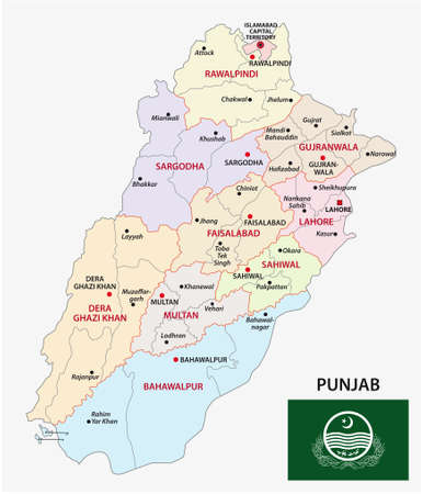 administrative vector map of pakistani province of punjab with flag, Pakistan