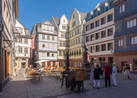 Historic city center with rebuilt medieval buildings and street cafes, Frankfurt, Germany Editorial