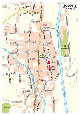 City map of Bajo Boquete in the Chiriqui Province, Panama Illusztráció
