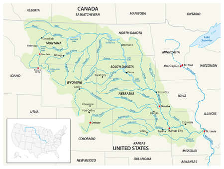 Vector map of the Missouri River Drainage Basin, United States, Canada