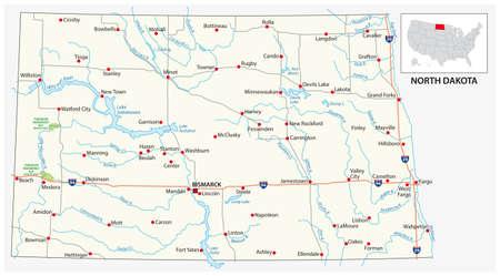 road map of the US American State of north dakota Ilustración de vector