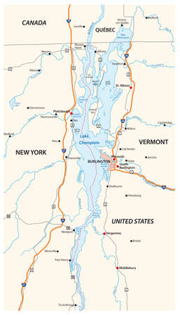vector map of North American Lake Champlain, United States, Canada