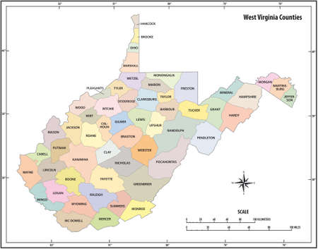 west virginia state outline vector map in color Vecteurs