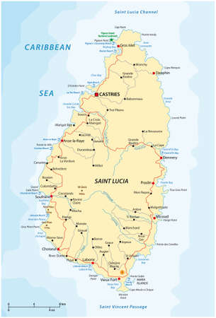 Road vector map of the West Indian island state of Saint Lucia