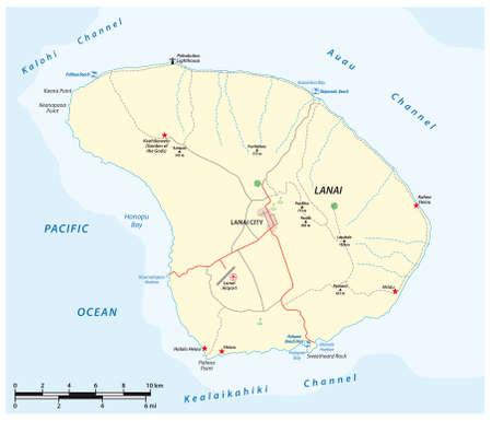 vector map of Lanai Island in the Hawaiian Archipelago, Hawaii, USA