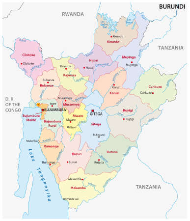 vector map of the new administrative division of the state of Burundi