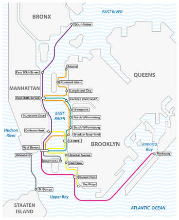 overview map of ferries in new york city, united states