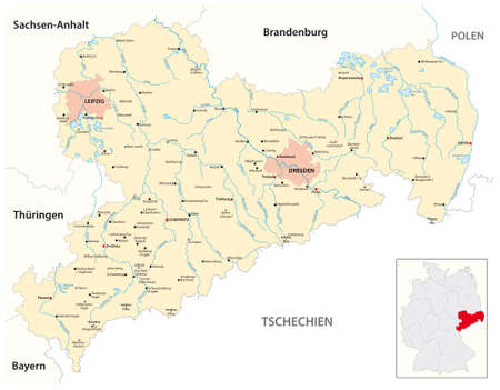vector map of the Free State of Saxony, Germany 向量圖像